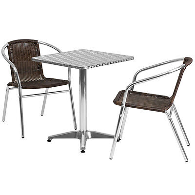 23.5square Aluminum Indoor-outdoor Restaurant Table With 2 Brown Rattan Chairs