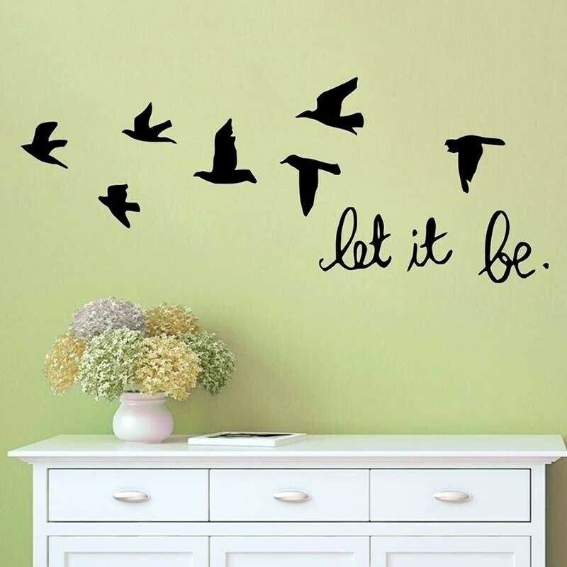 "Home Decoration - Wall Stickers ""Let it be"" Black Birds Dove Vinyl Art Wall Decals Home Decoration"