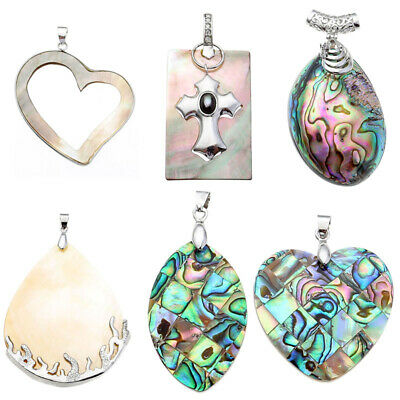 Fashion Natural Abalone Mother Of Pearl Shell Bead Pendant Fit Necklace -
