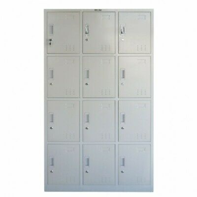 Locker Cabinet 12 Compartments Storage Gym Metal School Cupboard