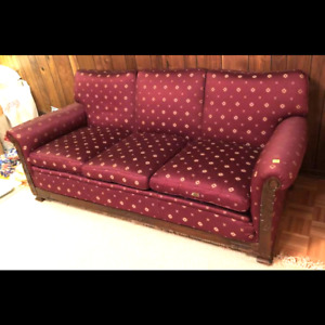 3-Seater Red Fabric Sofa with Wood Trim