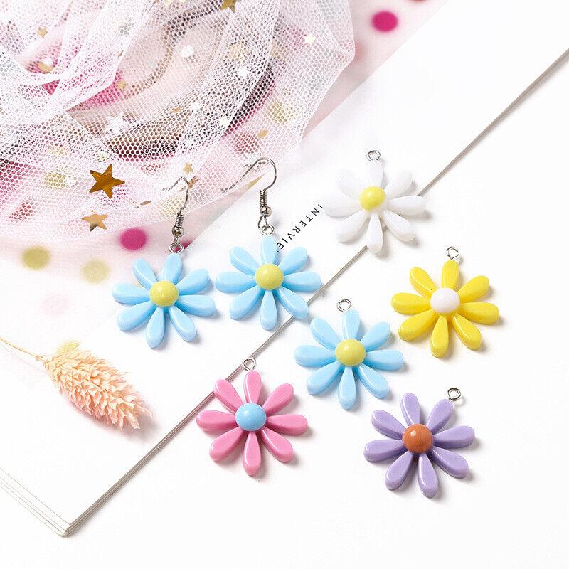 10PCS Cute Rainbow Color Sun Flower Charms Pendant DIY Earrings Necklace Jewelry