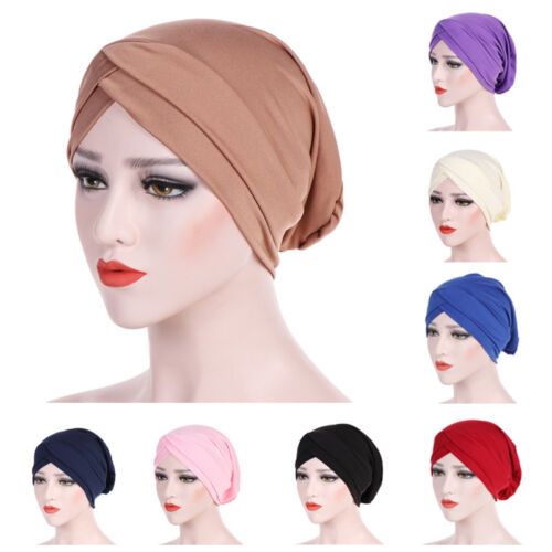 Women Muslim Ruffle Cancer Chemo Hat Beanie Scarf Turban Head Wrap Cap