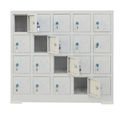 Metal Locker Cabinet With 20 Compartments Key Steel Phone Storage Gym Office New