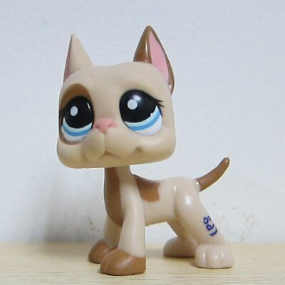 LPS Littlest Pet Shop Figure Great Dane Dog Dot Light Brown Tan Blue Eyes #1647