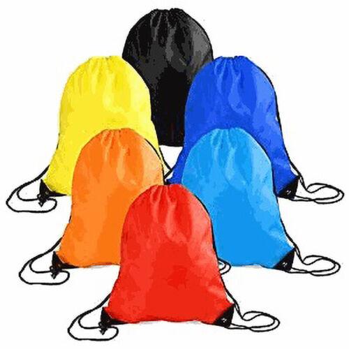 String Drawstring Back Pack Cinch Sack Gym Tote Bag Sports S