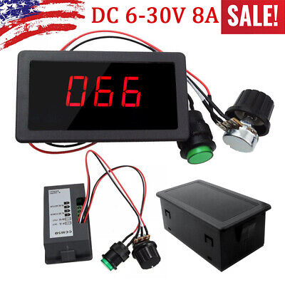 Dc 6-30v 12v 24v 8a Pwm Motor Speed Controller With Digital Display Switch Us