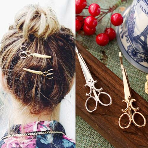 2Pcs Chic Scissors Shape Hair Clip Gold/Silver Hair Pin Wome