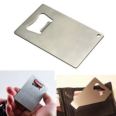 Stainless Steel BEER SODA Bottle Cap Opener Credit Card Size Bar Tool - Credit Card Bottle Opener