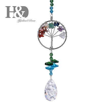 Hanging Tree of Life Suncatcher Crystal Rainbow Drop Pendant Window Home Decor
