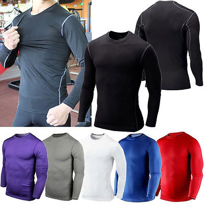 Mens Boys Sport Compression Thermal Base Layer Gear Under Shirt Top Skins