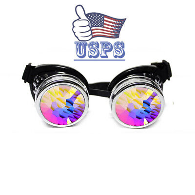 Full Kaleidoscope Steampunk Rave Glasses Goggles with Rainbow Crystal Glass (Raving Glasses)