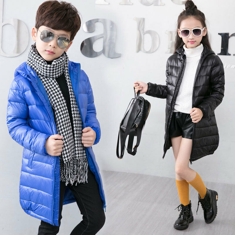 Kids Duck Down Coat Snowsuit Hooded Lightweight Jacket Boys
