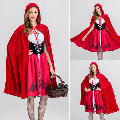 Damen Rotkäppchen Kostüm Halloween Karnevals Cosplay Party Fancy Kostüm Outfit