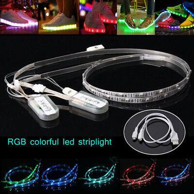2X 60cm USB Charging Battery Powered RGB 24 LED Strip Light Shoes Clothes Party - Lights Clothing