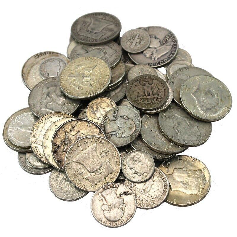 90% JUNK SILVER US COINS LOT OF 1/2 OZ. STANDARD WT.-PRE 1965-NO CLAD OR NICKELS