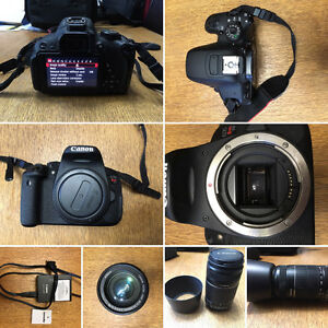 Canon rebel T5i with 55-250mm lense, lense hood and extra batter