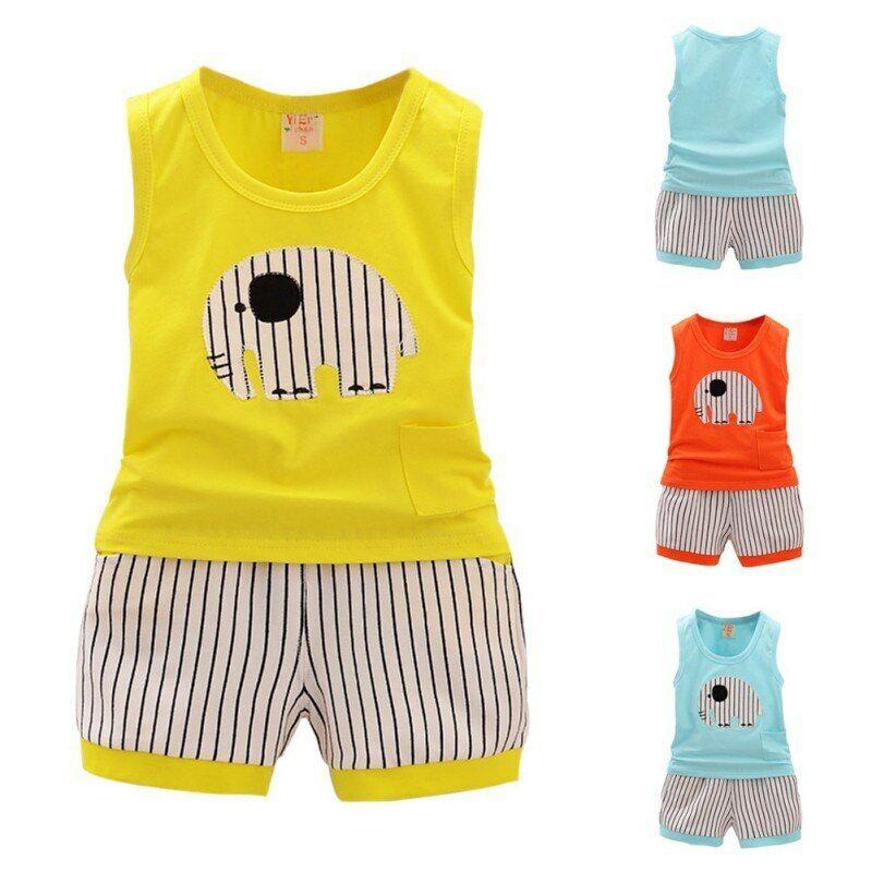 Cotton Cartoon Baby Boys Girls Vest Stripe Shorts Children C