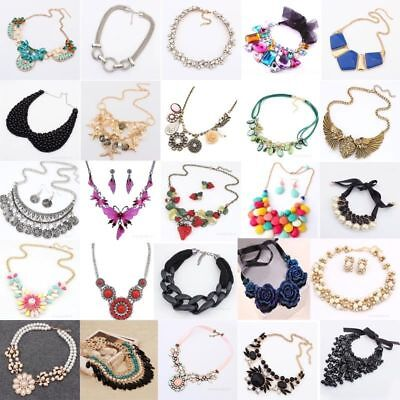 Fashion Charm Chunky Crystal Statement Bib Chain Choker Pendant Necklace Jewelry Crystal Bib Statement Necklace