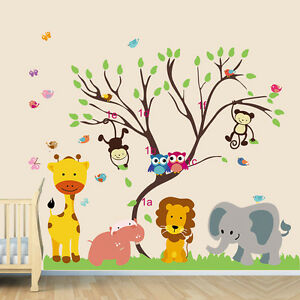 wall stickers jungle zoo monkey tree owl birds decals decor vinyl baby animal