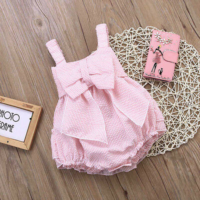 Girls Striped Romper - Baby Girls Striped Bubble Straps Ruffle Layers Bowknot Romper Bodysuit Outfits