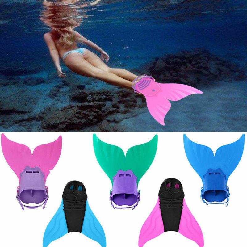Kinder Mädchen Meerjungfrau Schwanzflosse Mermaid Monoflosse f Mermaid Badeanzug