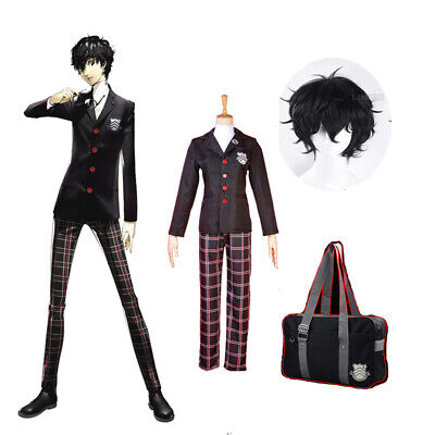Joker Cosplay Costume (Persona 5 Joker Ren Amamiya Akira Kurusu School Uniform Cosplay Costume Bag)