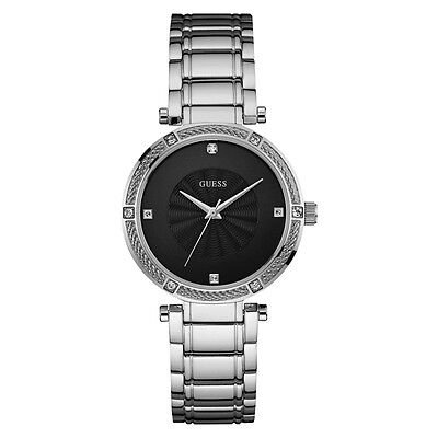 NEW GUESS WATCH for Women * Diamond Accent * Black Dial w/Silver Band U0695L1
