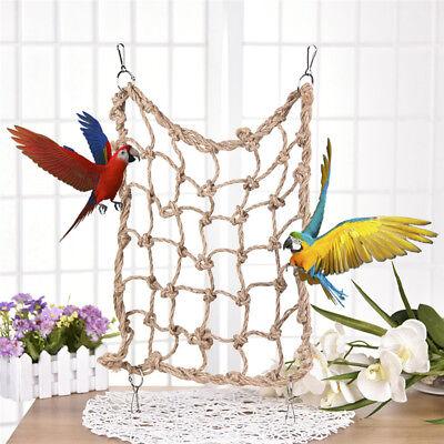 Pet Bird Parrot Parakeet Cage Rope Ladder Net Hammock Swing Toy Hanging Perch