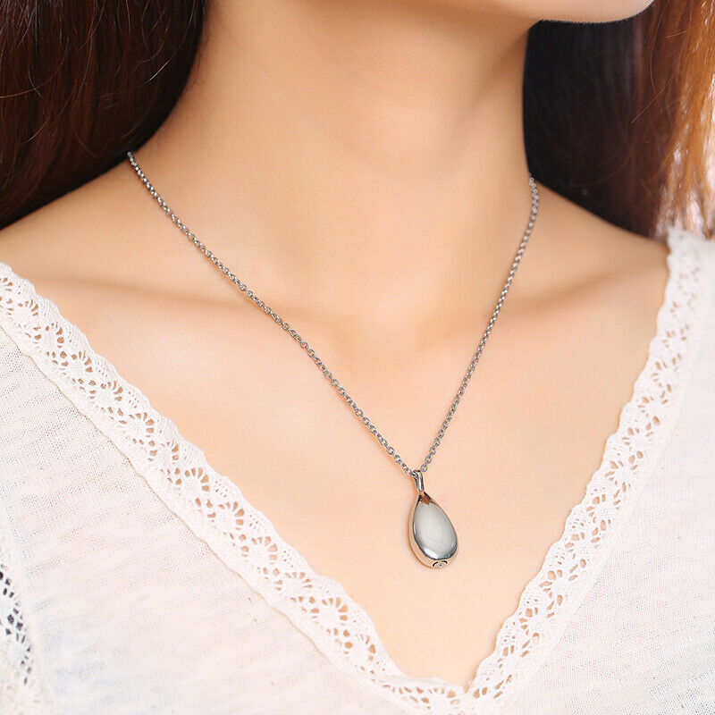 Silver Teardrop Ashes Urn Women's Necklace Pendant Cremation
