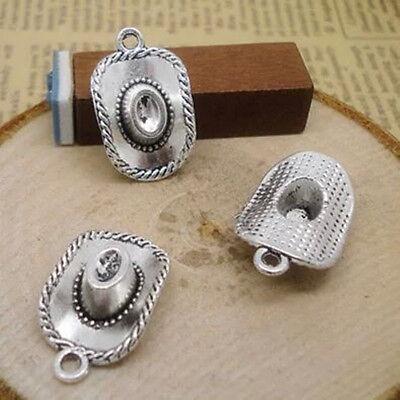 Wholesale 8pcs Tibet Silver Cowboy Hat Charm Pendant Beaded Jewelry Diy - Diy Cowboy Hat