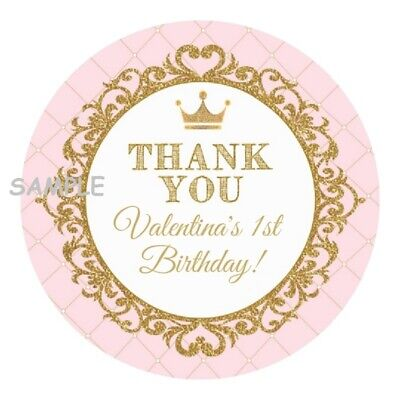 12 Personalized Pink and Gold Princess Party Stickers favors labels round crown
