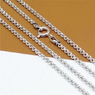 Sterling Silver Garibaldi Chain Necklace Double Rolo Chain 2mm 18 20 22 24 Inch