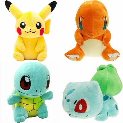 Detective Pikachu 4PCS Pokemon Bulbasaur Squirtle Charmander Stuffed Plush Toy