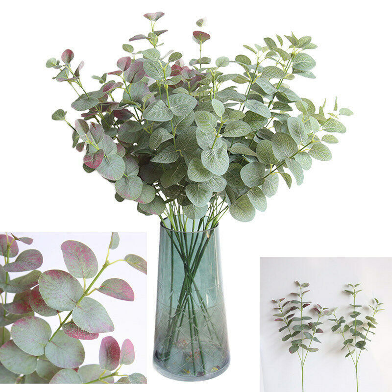 Home Decoration - 68cm Artificial Eucalyptus Fake Money Leaves Green Plant Leaf Flowers Home Decor