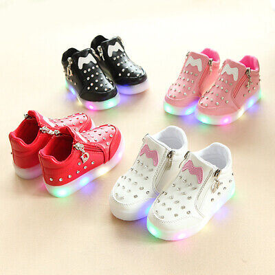 Baby Boys Girls Kids LED Shoes Light Up Luminous Trainers Sport Zip Sneakers New