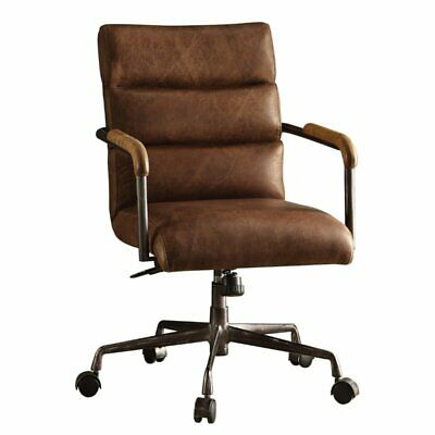 leather swivel office chair in retro brown