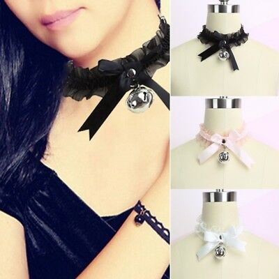 Bell Necklace (Women Kawaii Lace Bow Bell Collar Necklace Punk Sexy Choker Neck Tie)