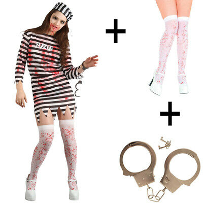 Ladies Zombie Convict Halloween Fancy Dress Costume + Stockings + Handcuffs New - Xs Stock Halloween Costumes