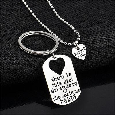 1Brief HerzSchlüsselbund Halskette Anhänger Papa Tochter Vater MädchenSchmuck X (Brief Halskette)