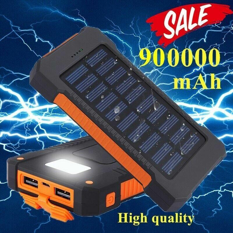 Portable Solar Power Bank 900000mAh Universal 2USB External