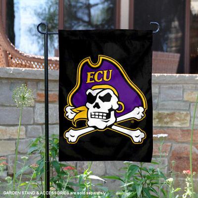 ECU Pirates Black ECU Pirate Garden Flag and Yard Banner