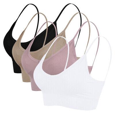 Damen Bh Bra Sport Bustier TOP Unterwäsche ohne Bügel Fitness Yoga Trägertop F/L