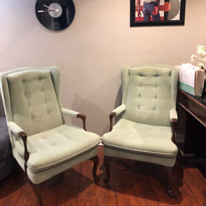 Vintage Inspired Wingback Chairs in Mint Green