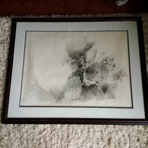"""GERALD SQUIRES """"ICARUS DESCENDING"""" INK ON PAPER 1972 RARE."""