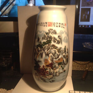 Powder Enamel Vase Porcelain . Vase Painted Chinese Mountains an
