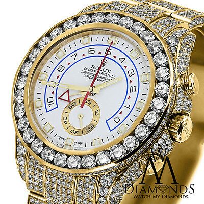 Diamond Rolex Watch Yacht-Master II 116688 18K Yellow Gold White Dial Automatic