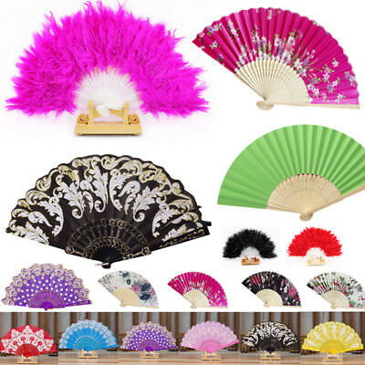 Feather/Bamboo Folding Hand Held Flower Fan Chinese Dance Party Pocket Gifts Fan - Folding Hand Fans