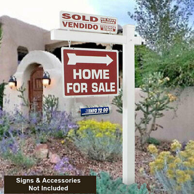 6 Tall White Vinyl Re-post Real Estate Yard Sign Post Arms With Stake - 4 Pack