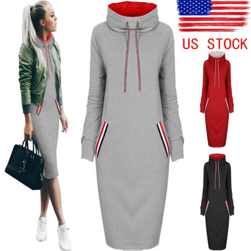 Dress - US Womens Casual Dress Long Sleeve Hoodie Hooded Jumper Sweater Tops Midi Dress